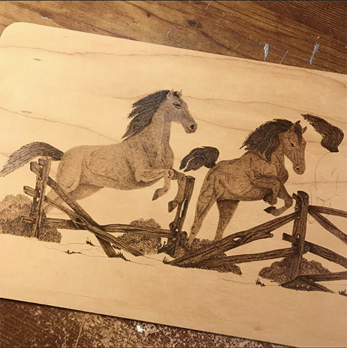 horse wood-burning