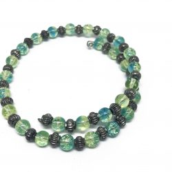 Green Glass Bead Wrap Bracelet