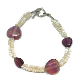 Glass Heart Seed Bead Bracelet 3