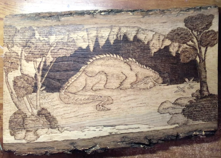 Sleeping Dragon Wood-Burning Pattern