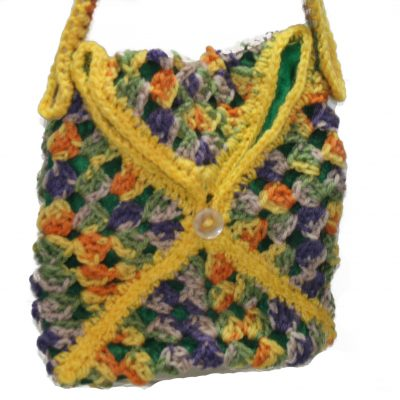 Multi-Colored Crochet Bag with Fabric Lining