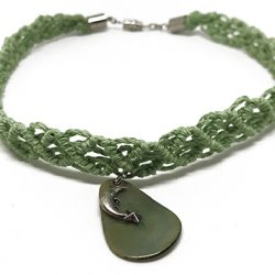 Green Macrame Choker with Dolphin Charm